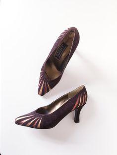 Vintage Dark Purple Rose Gold Metalic Velvet Pumps Evening Shoes | Size 6.5 | 1990s