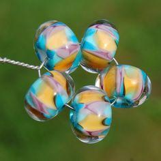 SouthWest Mosaic - Set of 5 Encased Lampwork Beads - Dan O Beads. $20.00, via Etsy.