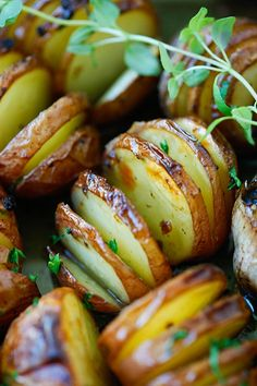 Garlic Herb Roasted Potatoes - the easiest and best roasted potatoes with olive oil, butter, garlic, herb and lemon. No deep-frying easy recipe!!   rasamalaysia.com