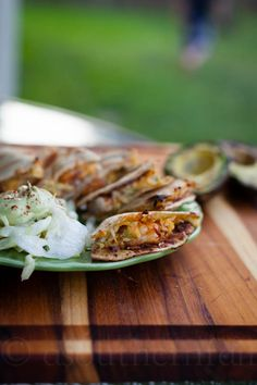 Avocado Shrimp Quesadilla by A Southern Fairytale ~ Spicy grilled shrimp quesadillas with smoky avocado cream sauce (made with adobo sauce). Seafood Recipes, Mexican Food Recipes, Cooking Recipes, Healthy Recipes, Ethnic Recipes, Avocado Recipes, Mexican Dishes, What's Cooking, Yummy Recipes