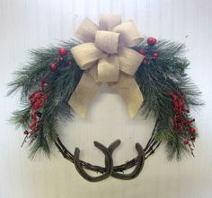 Barb-Wire-Horseshoe-Burlap-Christmas-Cowgirl-Wreath-Country-Barn-Winter-Wedding