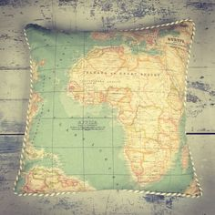Map fabric made into a cushion
