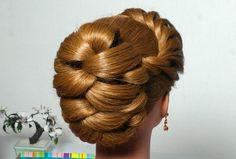"Hairstyle for long hair with twist braid. Вечерняя прическа с плетением косы ""жгут""."