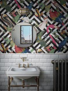 Introducing Divine Savages and Their Ultra Glamorous Wallpaper – Dear Designer – Wallpaper Wallpaper Designs For Walls, Funky Wallpaper, Bathroom Wallpaper, Print Wallpaper, Wallpaper Ideas, Wallpaper Toilet, Eclectic Wallpaper, Funky Bathroom, Tropical Bathroom