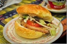 pineapple bun with pork chop and veggies :D