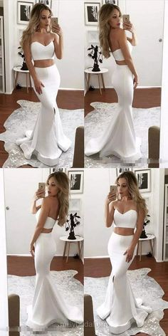 White Prom Dresses, Long Prom Dresses, Two Piece Prom Dresses 2018, Trumpet/Mermaid Prom Dresses Sweetheart , Satin Prom Dresses For Teens