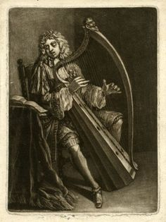 A man playing a harp and singing British, 1680-1700 print  © The British Museum: