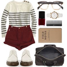 Stripes and burgundy by hanaglatison on Polyvore featuring J.Crew, Bongo, Dr. Martens, Burberry, NARS Cosmetics and Sephora Collection