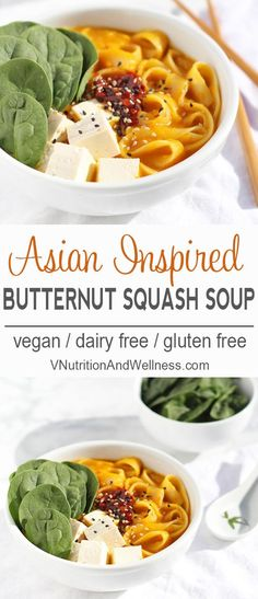 Butternut Squash Noodle Bowl | This Asian-Inspired Butternut Squash Noodle Bowl is a warming dish for chilly nights!  via @VNutritionist