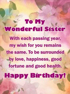 Extra Special Touch - Happy Birthday Card for Sister birthday quotes birthday greetings birthday images birthday quotes birthday sister birthday wishes Birthday Greetings For Sister, Birthday Messages For Sister, Happy Birthday Best Friend, Happy Birthday Wishes Cards, Birthday Wishes For Daughter, Sister Birthday Quotes, Birthday Wishes Quotes, Happy Birthday Images, Card Birthday
