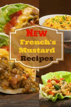 3 Delicious Dinner Recipes created using French's mustard. French's new recipes are amazing, Cheeseburger Burrito, Sweet Bacon Cheddar Dip and Chicken Lettuce Wraps. - Noshing with the Nolands Mexican Food Recipes, New Recipes, Cooking Recipes, Favorite Recipes, Cooking Ideas, Beef Dishes, Food Dishes, Main Dishes, Mustard Recipe