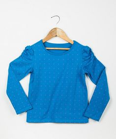 Look at this #zulilyfind! Blue Pin Dot Ruched-Sleeve Tee - Toddler & Girls by DownEast Basics #zulilyfinds