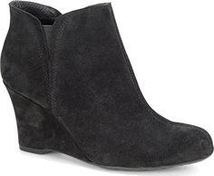 Born Women's Faylan Suede Black Ankle-High Suede Boot - 9M. Suede upper. Latex insole. Rubber outsole. Leather wrapped wedge heel. Tucker board.