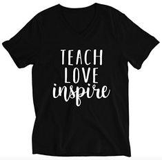 Teach Love Inspire Unisex V-neck T-shirt - Teacher Shirts