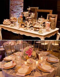 Rose gold wedding decor #desserttable #tablesetting #weddingreception #rosegold #goldwedding