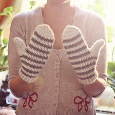 Striped Mittens  cutest pair of crochet mittens I've seen