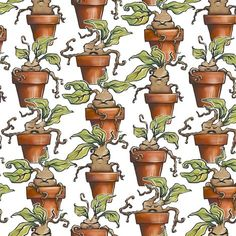 Mandrake Fabric - Baby Mandrake Plants By Versodile - Mandrake Botanical Plant Cotton Fabric By The Metre With Spoonflower Harry Potter Plants, Harry Potter Mandrake, Harry Potter Fabric, Jarry Potter, Harry Potter Background, Custom Fabric, Painted Rocks, Spoonflower, Canvas Fabric