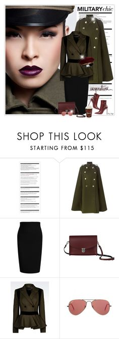 """""""Military Inspiration"""" by mcheffer ❤ liked on Polyvore featuring Arche, Sacai Luck, Roland Mouret, The Cambridge Satchel Company, Emporio Armani and Ray-Ban"""