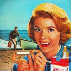 """E que tal uma campanha subtil. Anúncio dos cigarros Winston, de 1962 que realça que """"é o que está à frente que importa""""."""
