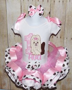 Puppy Ribbon trim tutu Puppy birthday outfit Dog by MommaMays