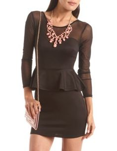 mesh inset scuba peplum dress