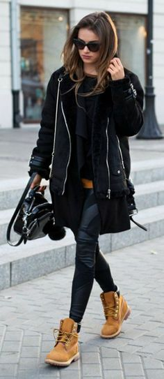 #fashion #timberland #boots Julietta Kuczynska + Timberlands + jacket + leather leggings Blouse: Vintage, Coat: Stradivarius, Leggings: Agnieszka Maciejak, Vest: Zara, Shoes: Timberland.