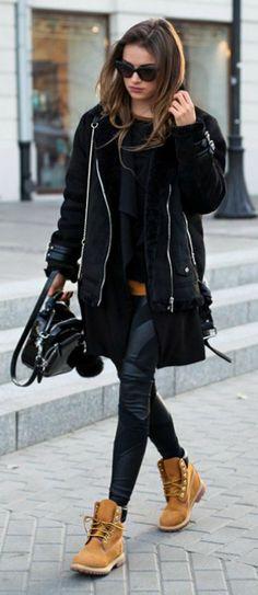 #fashion #timberland #boots Julietta Kuczynska + Timberlands + jacket + leather leggings Blouse: Vintage, Coat: Stradivarius, Leggings: Agnieszka Maciejak, Vest: Zara, Shoes: Timberland.