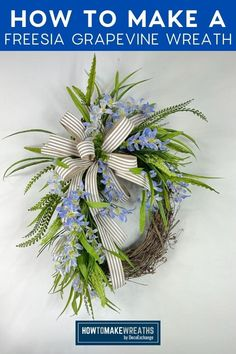 How To Make Wreaths, How To Make Bows, Wreath Tutorial, Nature Decor, Front Door Decor, Deco Mesh Wreaths, Summer Wreath, Grapevine Wreath, Grape Vines