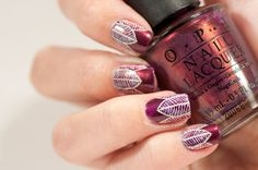 Nailpolis Museum of Nail Art | Delicate leaf design over shimmery purple by Zara TracesOfPolish