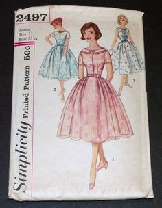 Vintage 1950s Pattern Simplicity 2497 Dress Party Dress Complete Cut Size Jr 11