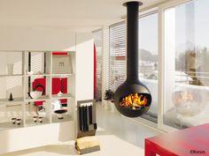 #cheminee bathyscafocus  foyer suspendu pivotant ouvert à bois #design contemporain