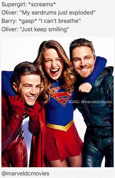 All In The Family: Inside DC's Ultimate Superhero Crossover - Photo: Grant Gustin (The Flash), Melissa Benoist (Supergirl), and Stephen Amell (Green Arrow) Superhero Shows, Superhero Memes, Flash E Supergirl, Series Dc, Cw Crossover, Flash Crossover, Flash Funny, The Flash Grant Gustin, Cw Dc