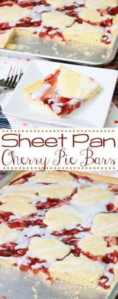 Sheet Pan Cherry Pie Bars – perfect for a crowd! A sweet crust topped with cherry pie filling and a vanilla glaze, this dessert recipe is delicious! Sheet Pan Cherry Pie Bars The Daily Hostess Brownie Desserts, Oreo Dessert, Mini Desserts, Cherry Desserts, Desserts For A Crowd, Cheesecake Desserts, Köstliche Desserts, Dessert Bars, Delicious Desserts