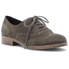 Sole Society Agga Menswear Oxford ($80) ❤ liked on Polyvore featuring shoes, oxfords, khaki, suede oxford shoes, round toe shoes, suede shoes, wingtip shoes and brogue shoes