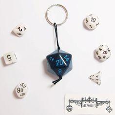 Dark Blue Dungeons and Dragon GIANT D20 Keychain by Mortivoreium