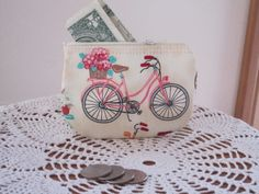Cruiser bicycle business card clutch zipper small essential oils vintage cruiser bicycle coin business card clutch zipper small essential oils case gift card holder in colourmoves Choice Image