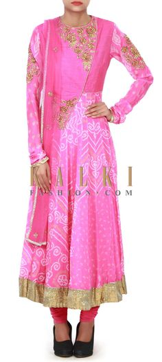 Buy Online from the link below. We ship worldwide (Free Shipping over US$100) Price-$409 Click Anywhere to Tag http://www.kalkifashion.com/pink-anarkali-suit-in-bandhani-print-only-on-kalki.html