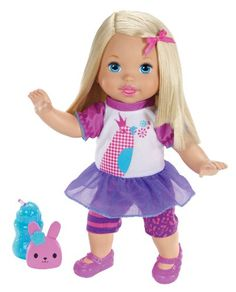 Little Mommy Talk with Me Repeating Doll -This giggly toddler doll has a lot to say. Push and hold the button on her tummy to record words and phrases Repeats the words and phrases you say - but in her own baby voice. Also has a few phrases of her own. Comes with bunny puppet and sippy cup for even more interactive fun.-