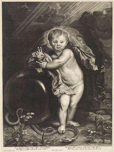 Paulus Pontius | Christuskind met rijksappel, Paulus Pontius, Pieter de Jode (II), Michiel Cabbaey, 1616 - 1657 | Het Christuskind, leunend op een rijksappel. Hij vertrapt de slang met zijn rechtervoet. In de marge een vierregelig onderschrift in het Latijn.