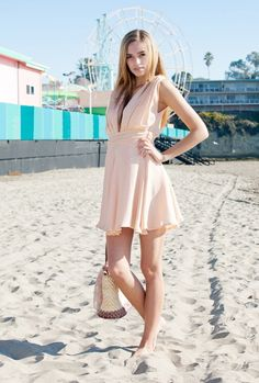 Peach Vneck Dress