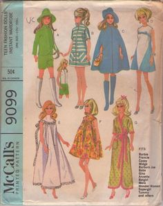McCall's 9099 Vintage 60's Sewing Pattern FAB Mod Barbie Fashion Doll Instant Wardrobe, Dress, Raincoat, Cape, Tent Dress, Nightgown, Robe, Hats #MOMSPatterns