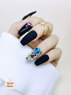 More shapes, sizes and designs available at TheNailMaster.etsy.com #pressonnails #nails #nailart Stick On Nails, Glue On Nails, Swarovski Stones, Stones And Crystals, Best Press On Nails, Black Press, Nail Jewels, Black Outfits, Artificial Nails