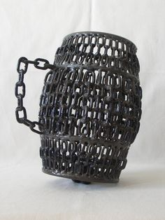 Handmade Modern Sculpture 'Mug' | Associative Abstract Art | Mobile Art | Metal Sculpture | Welded Metal | Iron Chains | Art Deco Sculpture #art