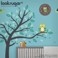 Nursery Wall Decal Owl Tree Decal Forest Friends by looksugar, via Etsy.