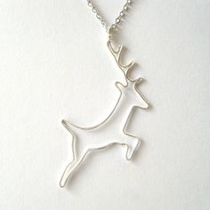 Deer Necklace  Silver Deer Pendant Stag Pendant by FioreJewellery, €42.00