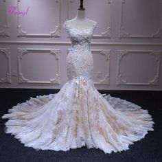 Fmogl Appliques Lace Chapel Train Mermaid Wedding Dress 2019 Fashion Scoop Neck  Cap Sleeve Trumpet Bridal 8478b1f374a6