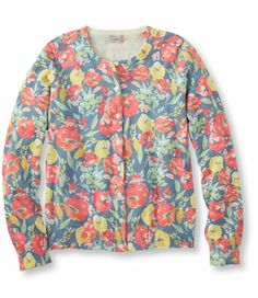 Lightweight Fine Gauge Sweater, Multifloral Cardigan: Sweaters   Free Shipping at L.L.Bean