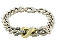 David Yurman Cable Link Bracelet in Silver and 18K