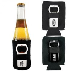 "• Hat Trick Bottle Opener and Neoprene can cooler with loop to store opener. • Actual size of opener is 1""h x 3""w and Can Cooler is 4-1/4""h ..."