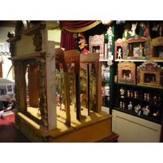 """19th Century German Theater featured at Pollocks in London (front view) - this """"Papiertheater"""" is c1890 and the wooden facade mimics and opera stage.  The play inside is from J.F. Schreiber and is about an enchanted toystore where the toys come to life when the fairy appears. http://www.pollocks-coventgarden.co.uk/index.php/antique-vintage-ephemera-juvenile-drama-and-related-material/19th-century-german-theatre.html"""